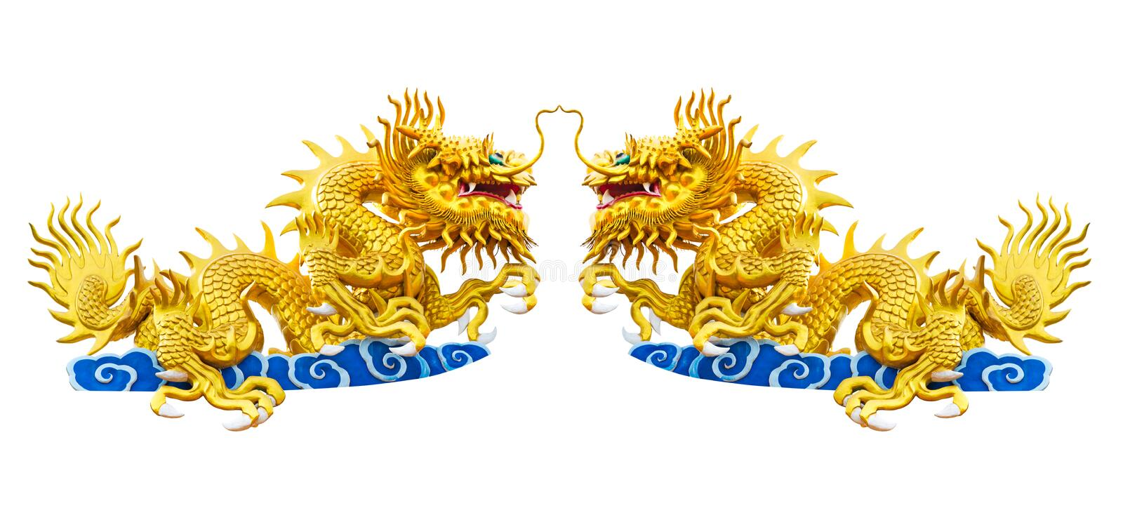 Twin Dragon On Chinese Temple Roof Isolated On White Background