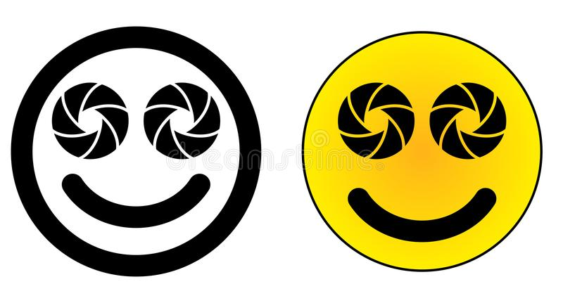 Twin dual lens mobile phone smiley face icon. Two camera aperture symbol instead of eyes. royalty free illustration