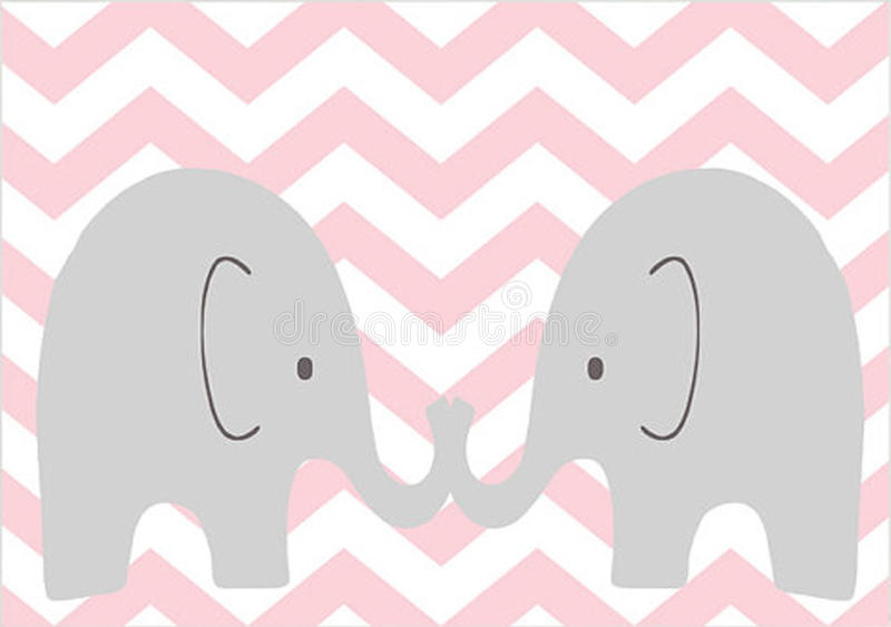 Twin Elephants royalty free illustration