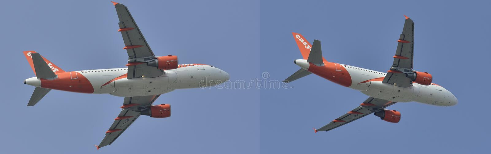 Twin engine jet airplane flying in different positions stock photo