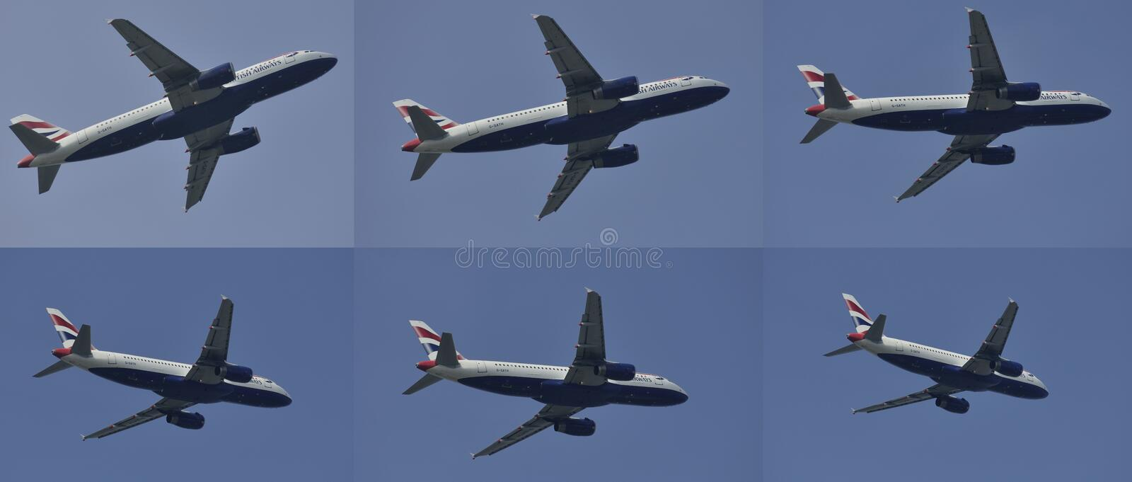Twin engine superjet high-bypass turbofan airplane flying in different positions stock photography