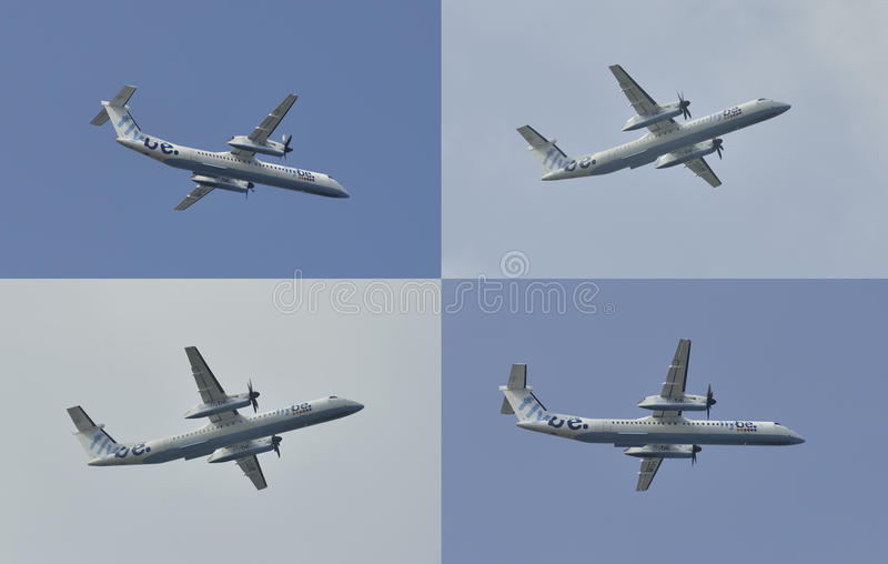 Twin engined medium range turboprop airplane flying in different positions royalty free stock images