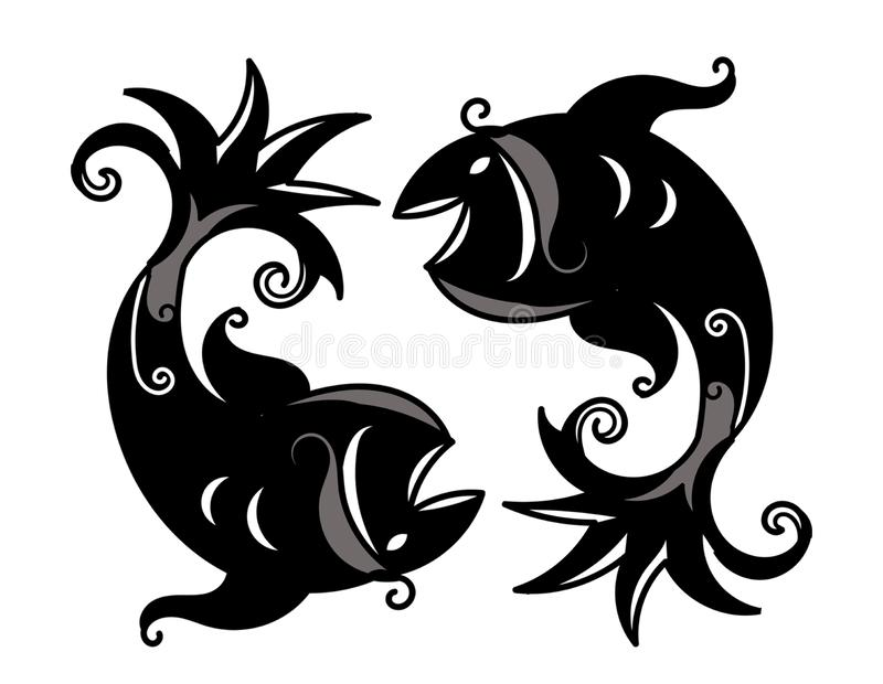 Twin fishes art pisces zodiac sign wallpaper stock illustration