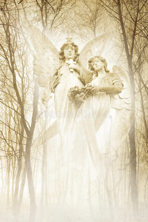 Twin Forest Angels. Twin angelic female figures materialising in an atmospheric misty forest rendered in gentle green tones stock images