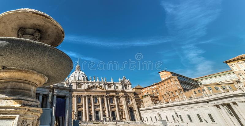 Twin fountain in world famous Saint Peter`s square stock image