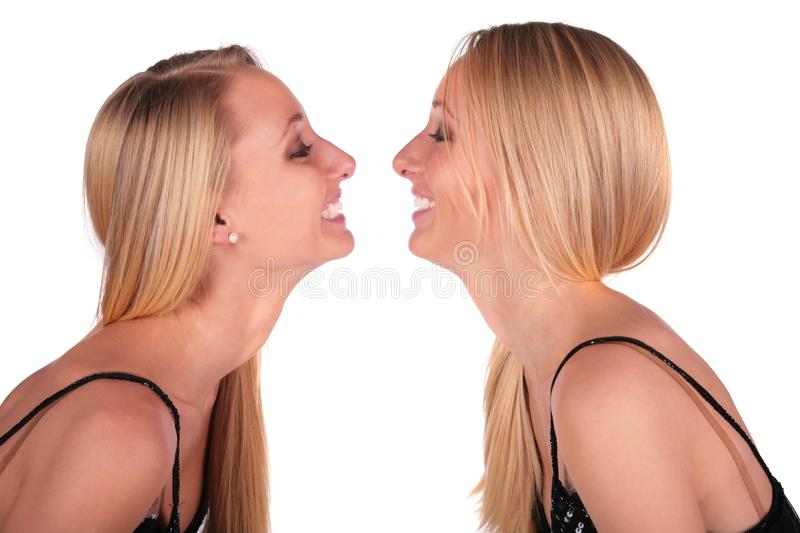 Twin girls face-to-face close-up royalty free stock image