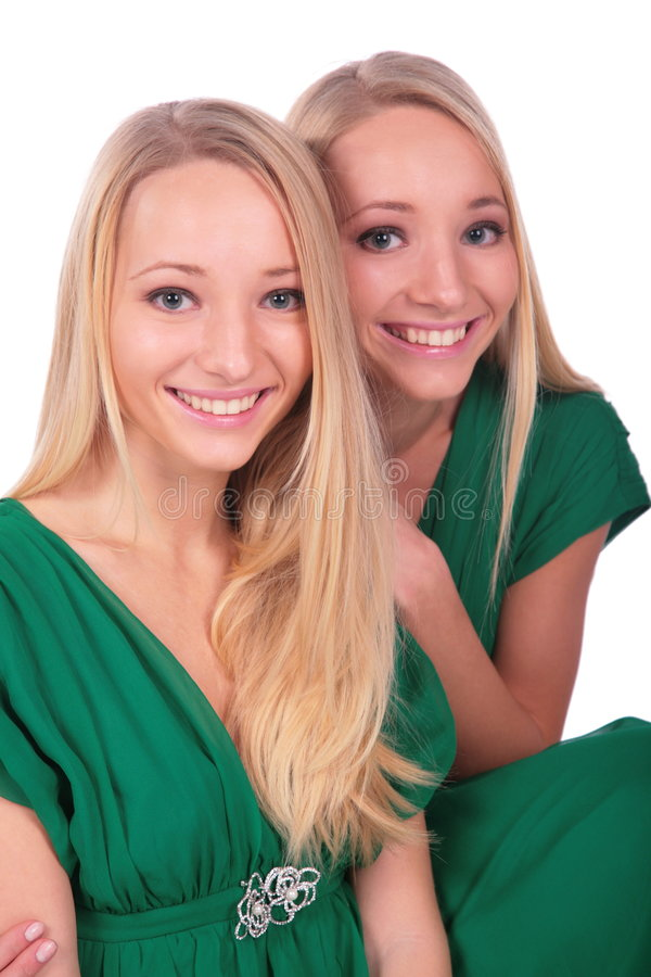 Twin girls faces close-up