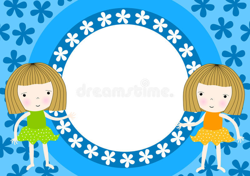 Download Twin Girls Frame Party Invitation Stock Illustration - Illustration: 46624679