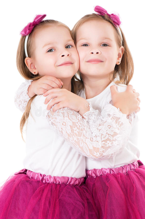 Twin girls stock image