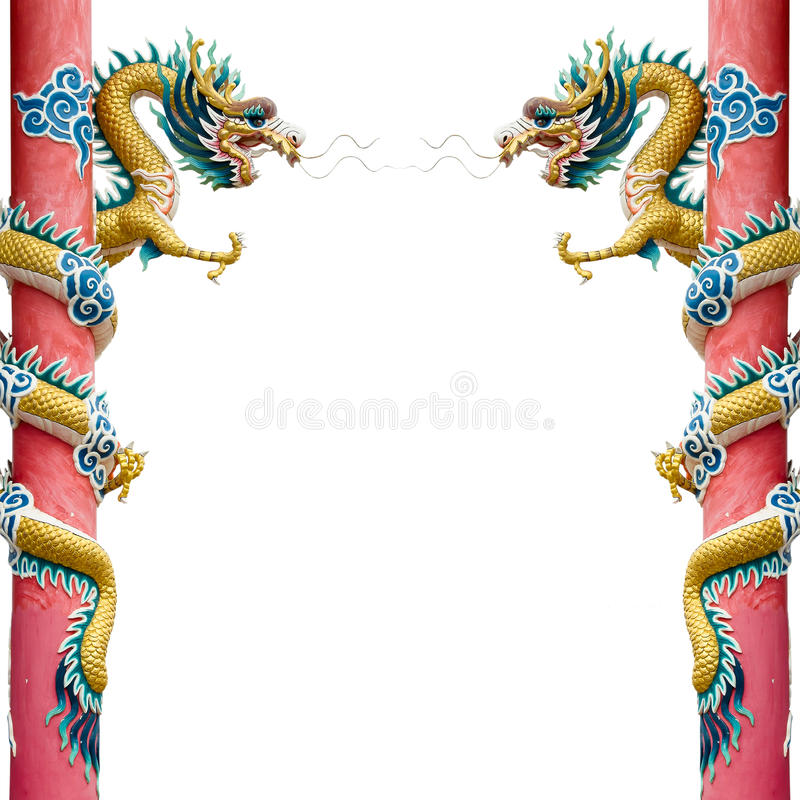 Free Twin Gold Chinese Dragon Royalty Free Stock Image - 21450946