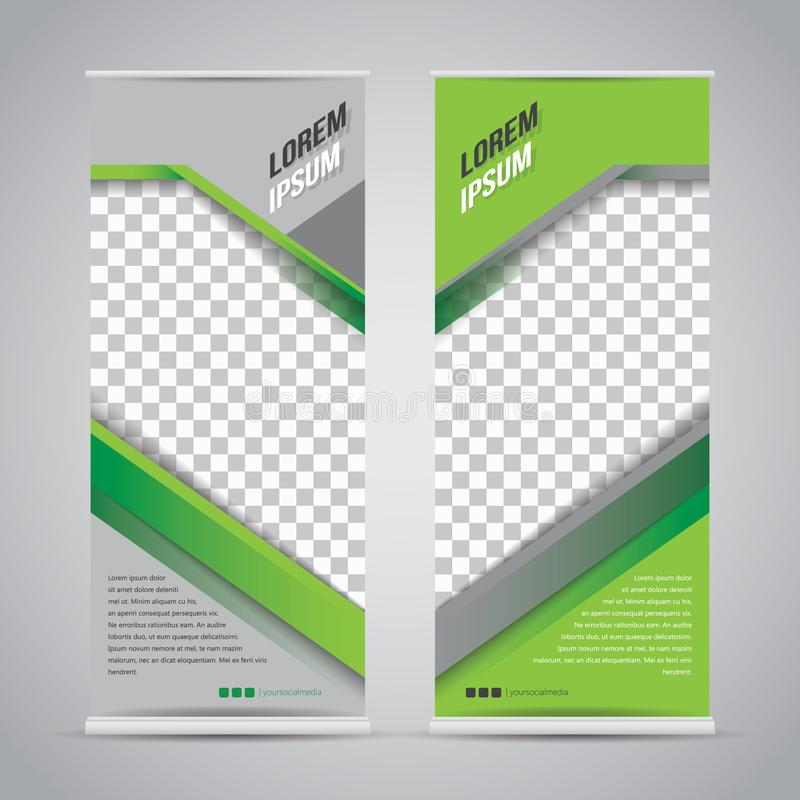 Twin green roll up banner stand design template vector illustration