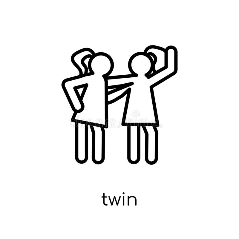 twin icon. Trendy modern flat linear vector twin icon on white b royalty free illustration