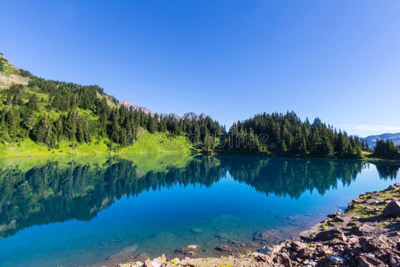 Twin lake. S in Mt.Baker Recreational Area,Washington, USA stock photos