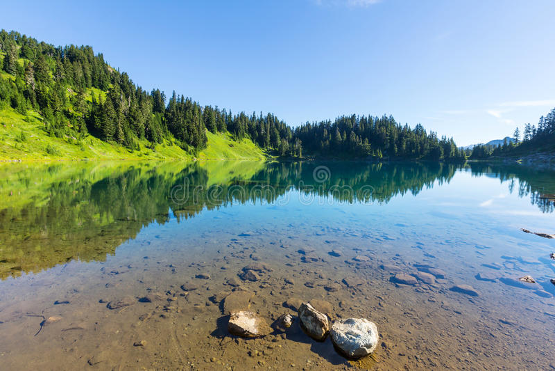 Twin lake. S in Mt.Baker Recreational Area,Washington, USA stock photography