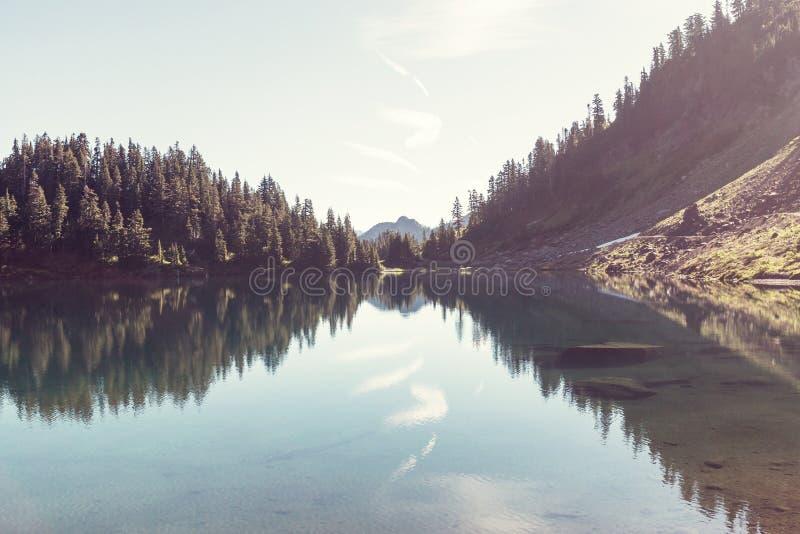 Twin lake. S in Mt.Baker Recreational Area,Washington, USA stock image