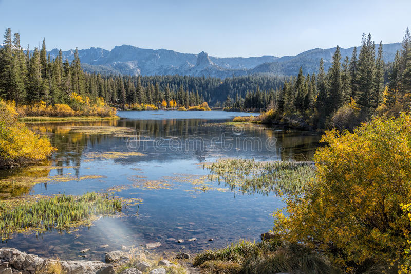 Twin Lakes. Mammoth, CA Perfect October day with clear skies, fall colors and the beautiful lakes at the foot of the mountain stock image