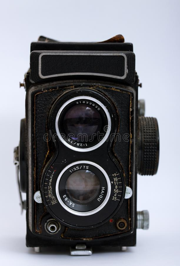 Twin-Lens Reflex Cameras. A Twin-Lens Reflex Cameras in the white background stock photo