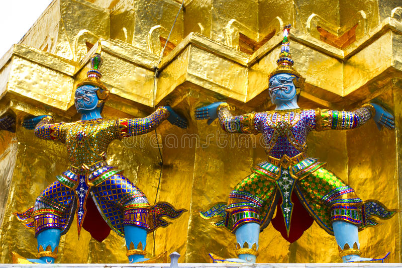 Twin little giants in the temple royalty free stock images