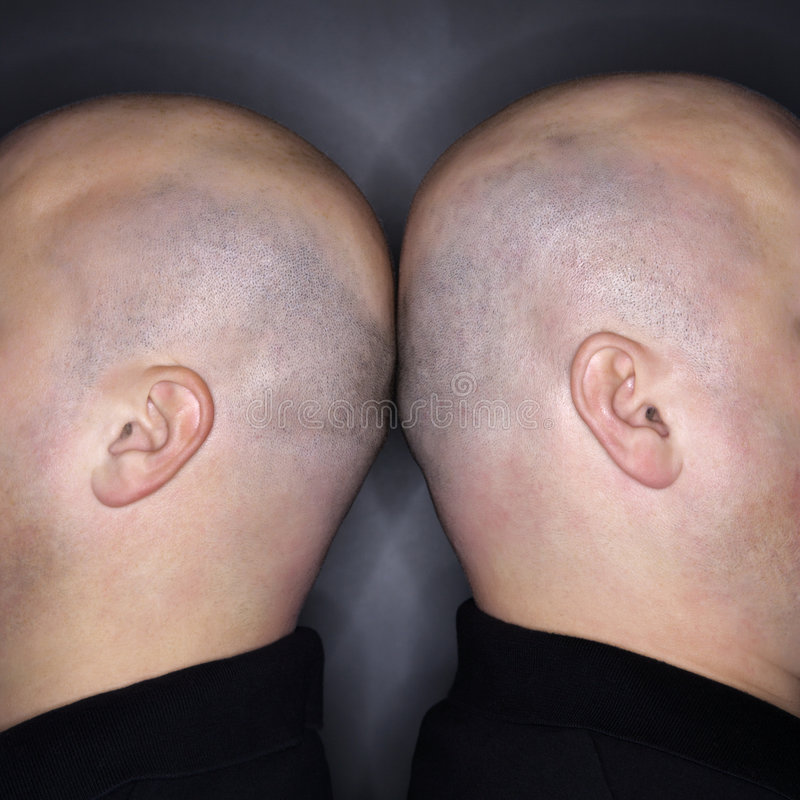 Download Twin men back to back. stock photo. Image of shot, similarity - 2425250