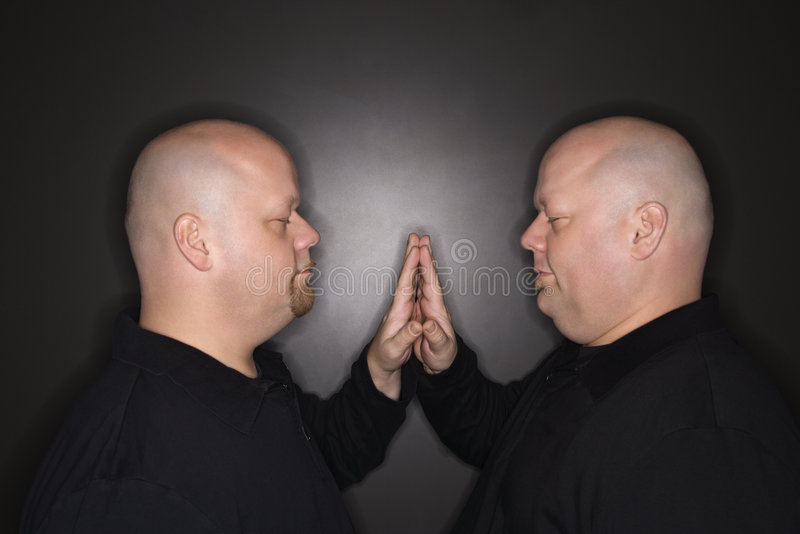Download Twin men face to face. stock image. Image of horizontal - 2425263
