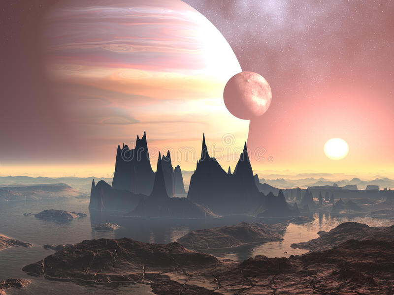 Twin Moons over Planet Europa. Desolate alien world with it's huge pinnacle rock formations. As the sun rises the twin moons can be seen in orbit in a star royalty free illustration