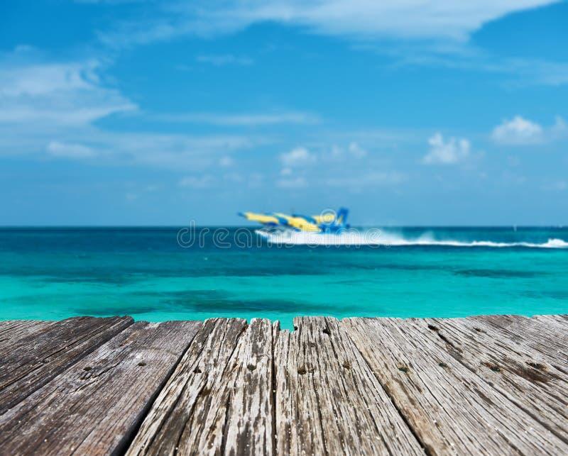 Twin otter seaplane at Maldives stock photos
