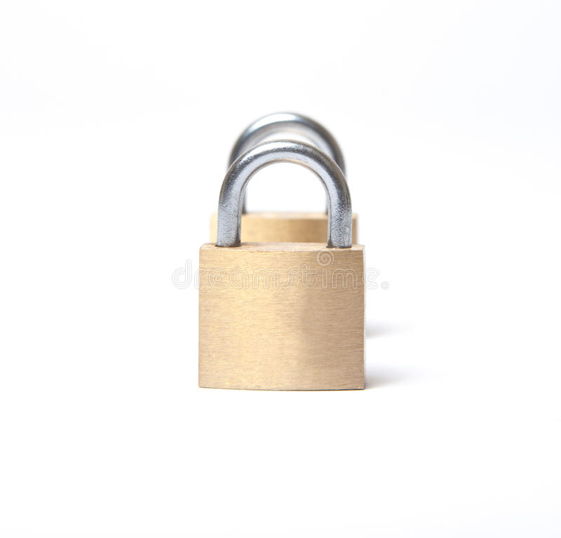 Twin padlocks royalty free stock photos