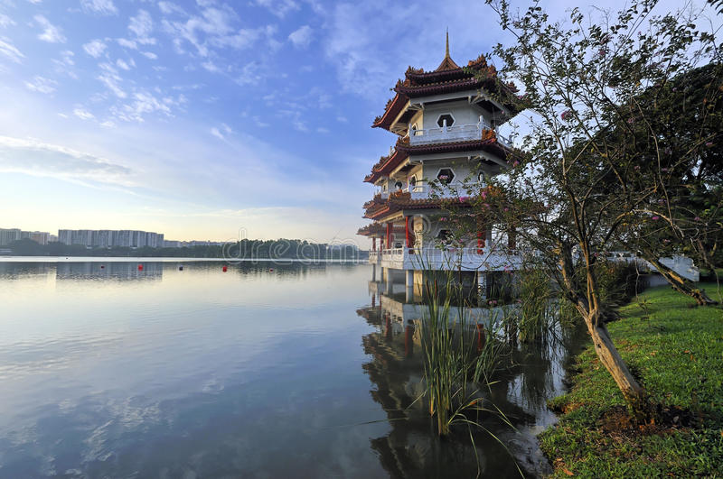 Download Twin Pagoda by the Lake stock photo. Image of flare, landmark - 16672682