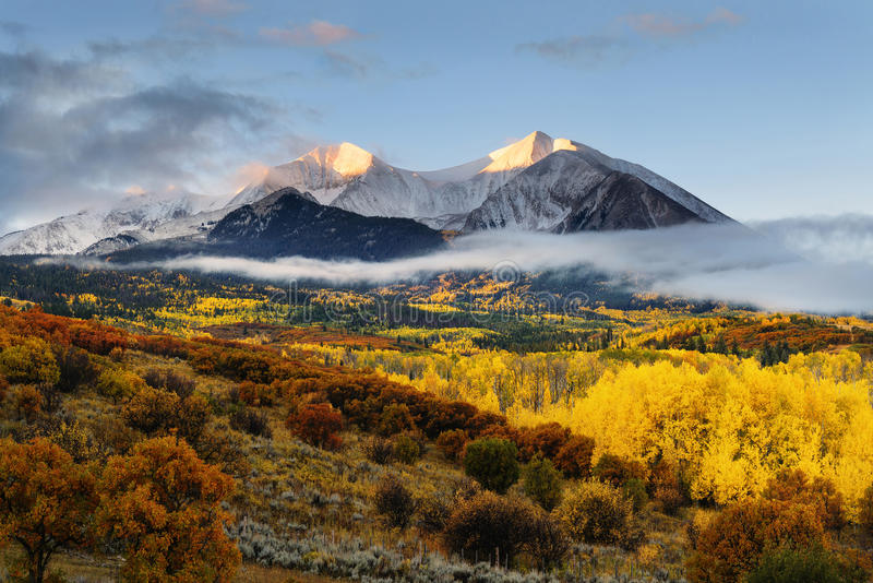 Twin peaks mountain, Mount Sopris and Elk stock image
