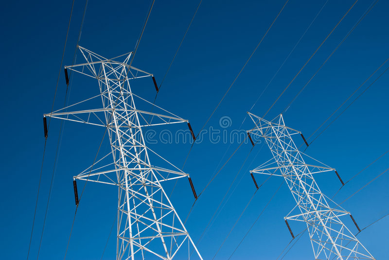 Download Twin Power Line Towers stock image. Image of concepts - 8465067