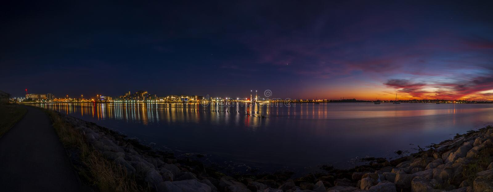 Twin sails bridge in Poole at sunset stock photography