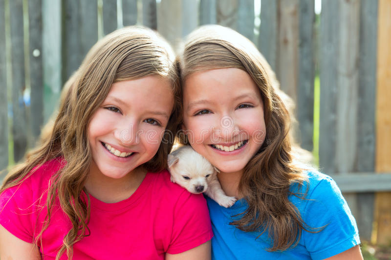 Twin sisters and puppy pet dog chihuahua playing stock image