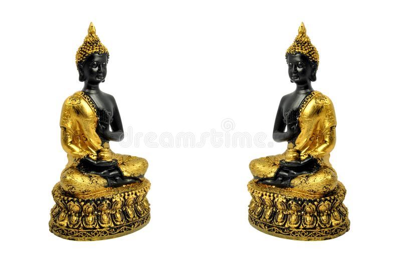 Twin smiling buddha stock photo