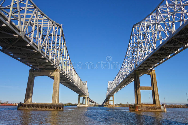 Twin Span Bridge. Underside of the Crescent Connection Bridge over the Mississippi River between New Orleans and Algiers Point in Louisiana royalty free stock photography