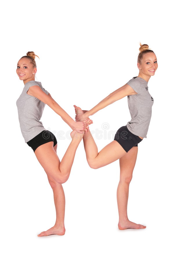 Download Twin Sport Girl Balances Back-to-back Stock Image - Image: 4056633