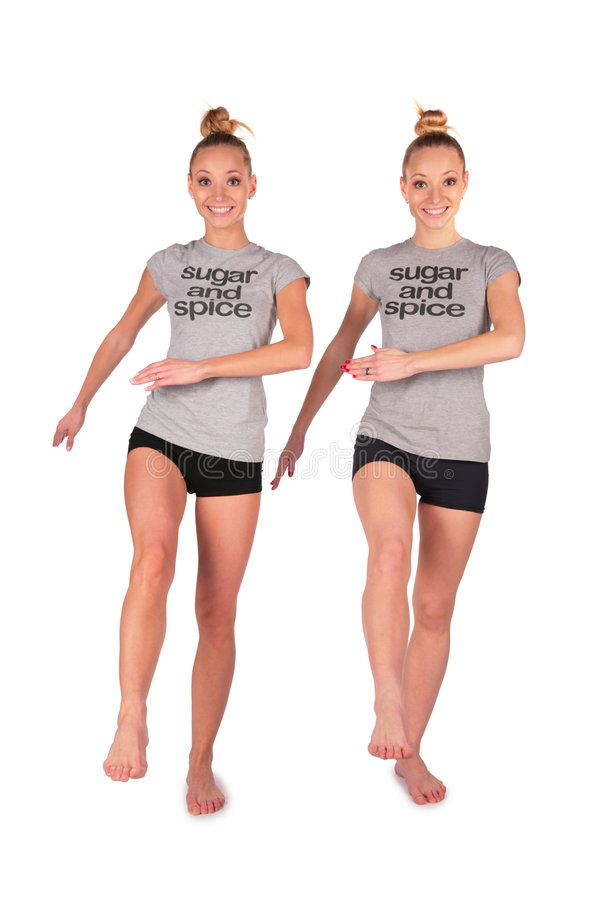 Twin Sport Girl Marchs Royalty Free Stock Images