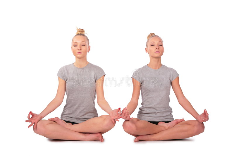 Download Twin Sport Girls Meditating Stock Photo - Image: 4003772