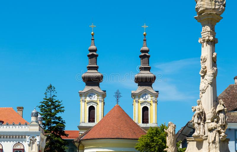 The twin towers of a church royalty free stock photo