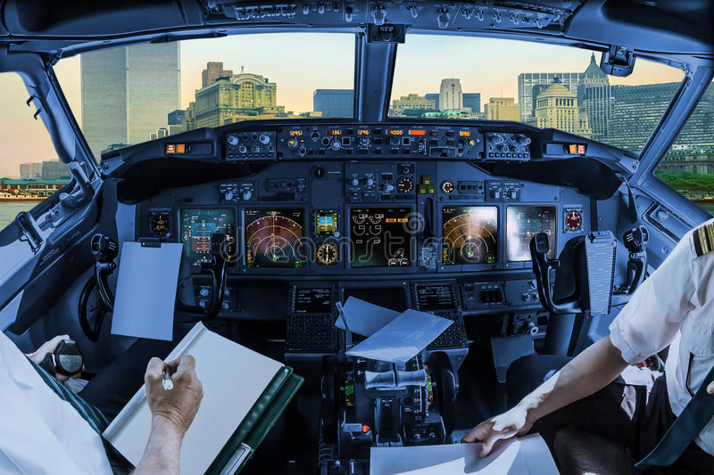 Twin Towers cockpit stock image