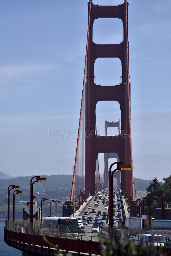The twin towers of the Golden Gate Bridge looking South towards San Francisco. stock photo