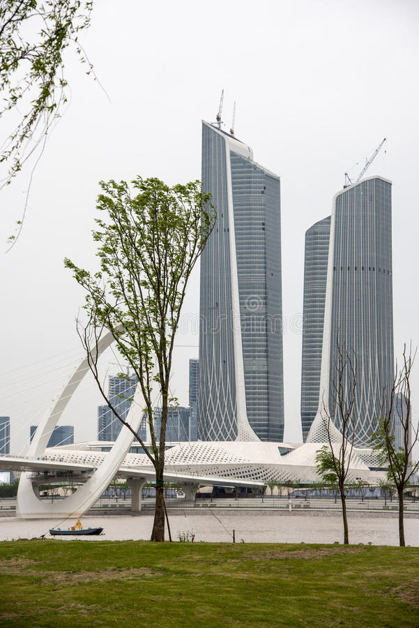 Twin Towers Nanjing Youth Olympic Center and Nanjing eye pedestrian bridge royalty free stock image