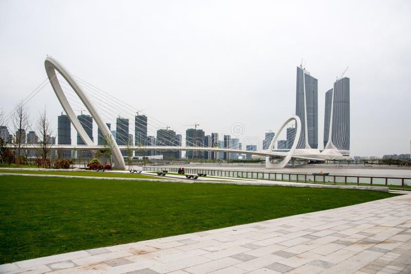 Twin Towers Nanjing Youth Olympic Center and Nanjing eye pedestrian bridge royalty free stock photography