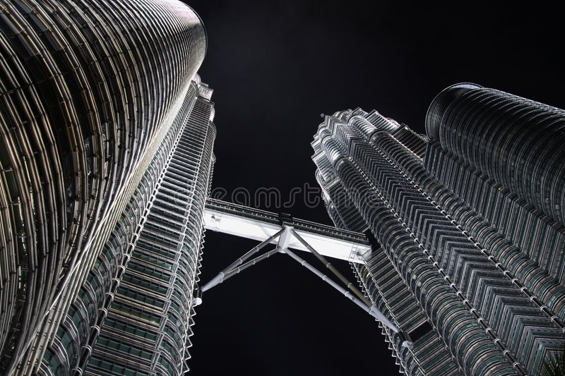 Twin Towers by Night stock images