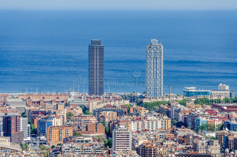 Twin towers from Turo del Rovira in Barcelona, Spain. The twin towers of Barcelona from the hill of Turo del Rovira in Barcelona, Catalonia, Spain royalty free stock images