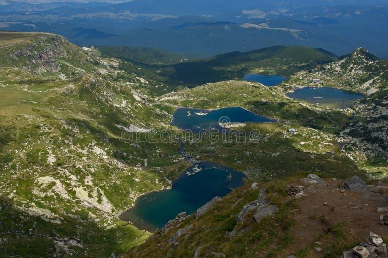 The Twin, The Trefoil, The Fish and The Lower Lake, The Seven Rila Lakes, Rila Mountain. Bulgaria stock photos
