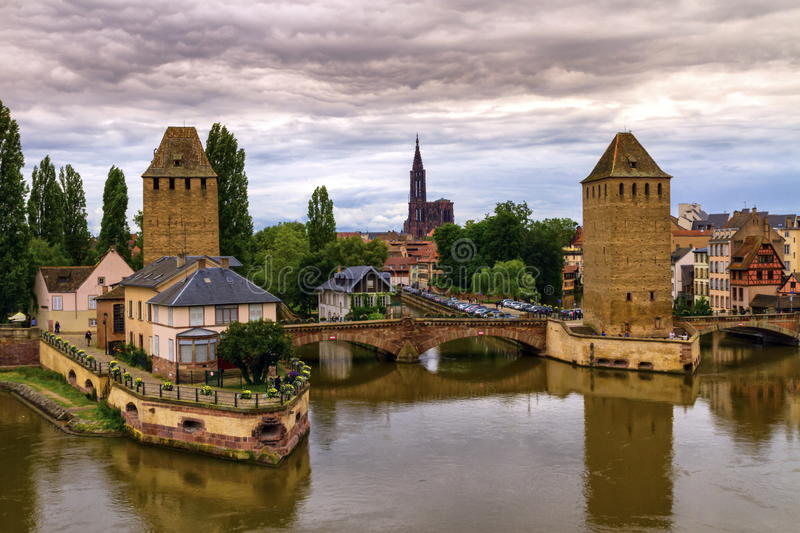 The twin watchtowers of the Ponts Couverts, Strasbourg, France. The twin watchtowers of the Ponts Couverts by day, Strasbourg, France stock photography