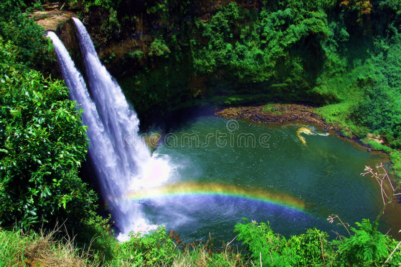 Twin waterfall stock photo