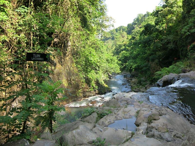 Twin waterfall in Sambangan secret garden in Bali, Indonesia stock photo