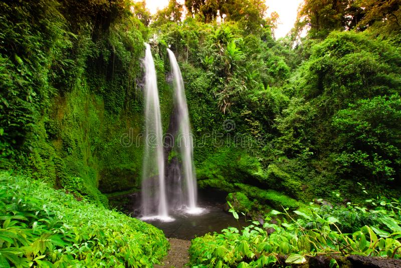 Twin Waterfalls, Lombok, Indonesia, Long exposure stock photos