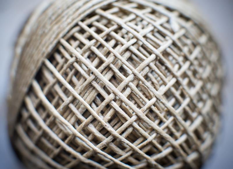 Twine ball twist connected world concept. Twine ball twist macro detail, selective focus, connected web world concept royalty free stock photography